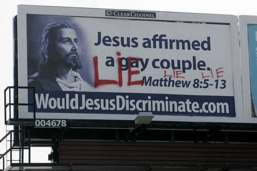 gay billboard Labels: American christianity, bible, coffee with jesus, gay
